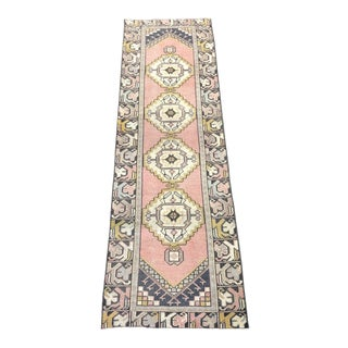 1960s Vintage Distressed Turkish Anatolian Geometric Patterned Runner- 2′10″ × 9′4″ For Sale
