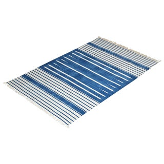 Water Lily Rug, 6x9, Blue & White For Sale