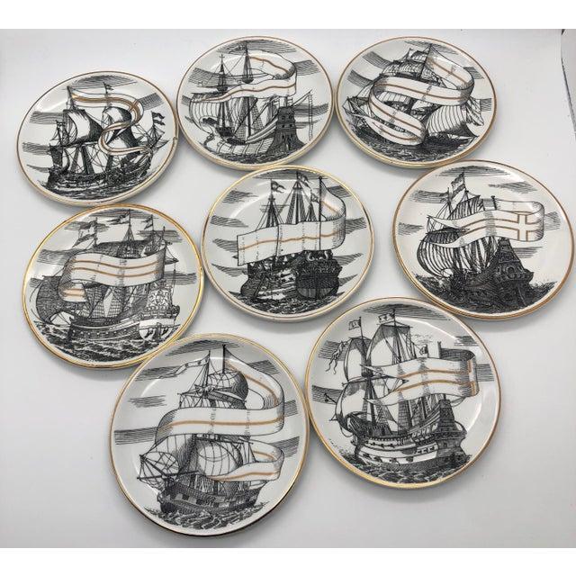 "Italian 1950s Piero Fornasetti for Bonwit Teller Tall Ships ""Velieri"" Porcelain Coasters - Set of 8 For Sale - Image 3 of 5"