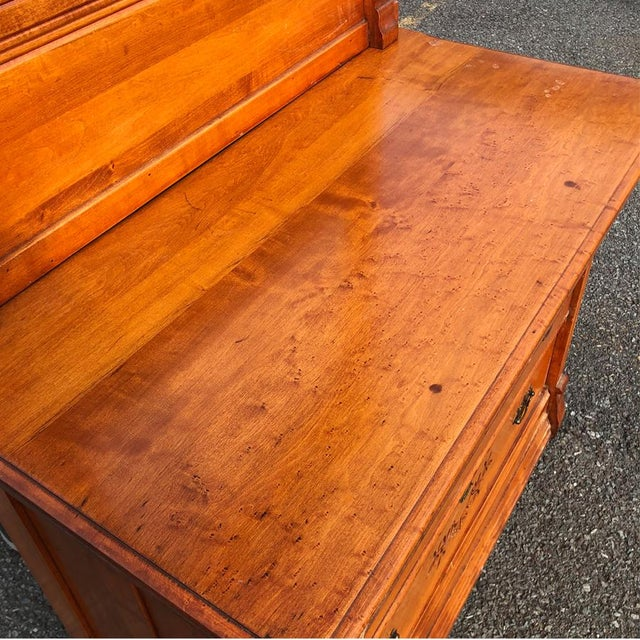 Brass 19th Century Victorian Birds Eye Maple Mirrored Country Dresser For Sale - Image 7 of 10