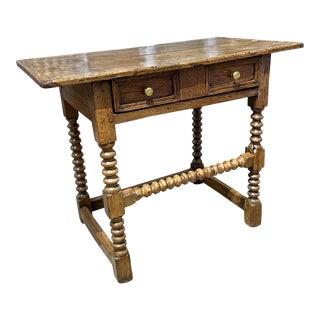 Antique English Oak Side Table For Sale