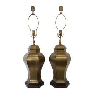 Mid-Century Wildwood Asian Brass Ginger Jar Lamps - a Pair For Sale