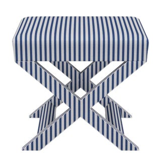 X Bench in Navy Fairfield Stripe For Sale