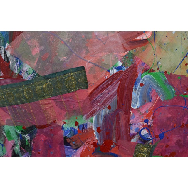 Joseph M. Glasco Oil and Collage on Canvas, #34, Dated 1985 For Sale In Dallas - Image 6 of 13