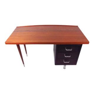 -Century Steel & Teak Writing Desk For Sale