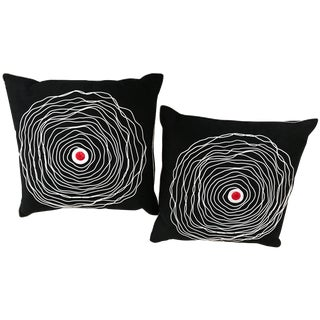 Pair of Black and White Modern Art Decorative Embroidered Cord Pillows For Sale