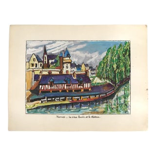 1970s Vintage Signed French Gouache Painting of the Chateau De Macqueville For Sale