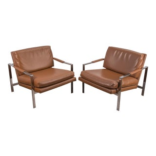 Pair of Milo Baughman Cognac Lounge Chrome Chairs