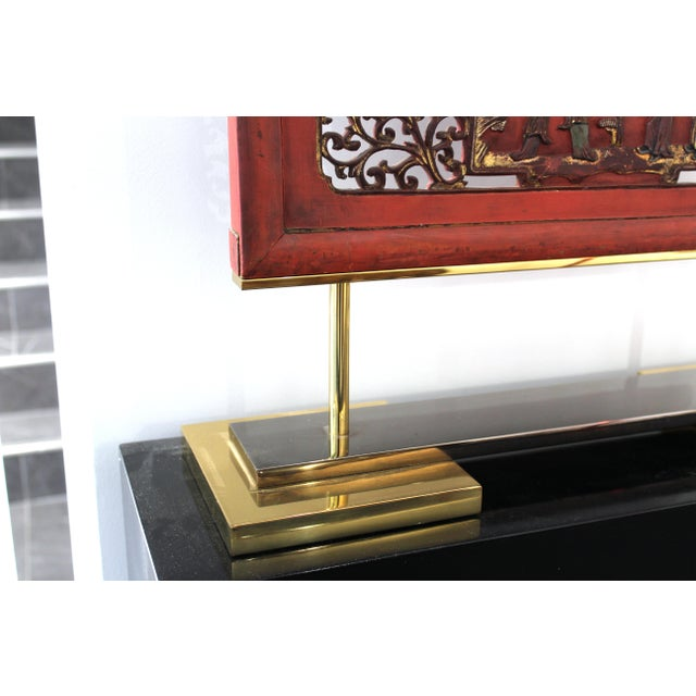 Asian Modern Lacquer Screen Element Mounted on Stand Attributed to Karl Springer For Sale - Image 11 of 13