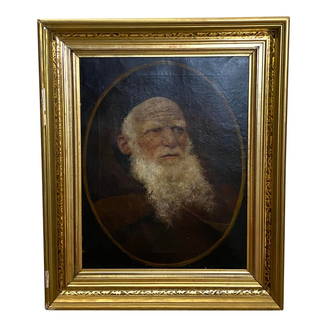 Antique 19th C. Oil on Canvas Portrait of a Jewish Man Hebrew Beautiful Frame For Sale
