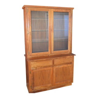 Custom Walnut Two-Piece China / Display Cabinet Sideboard For Sale