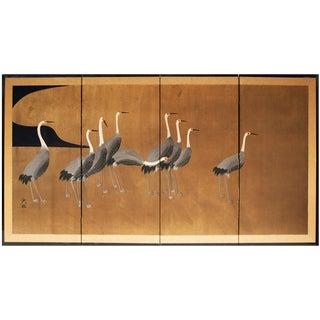 1950s Vintage Ogata Korin Japanese Gold Leaf Nine Cranes Screen For Sale