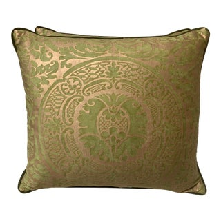 Green & SilGold Fortuny Cotton Pillows - a Pair For Sale