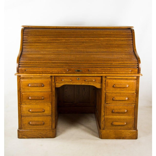 Antique American Classic Oak Rolltop Writing Desk For Sale - Image 13 of 13