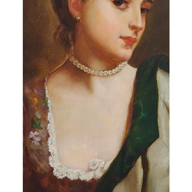 """19th Century Gustave Jean Jacquet """"Portrait of a Young Lady Wearing a Feather Hat"""" 19th Century Oil Painting For Sale - Image 5 of 10"""