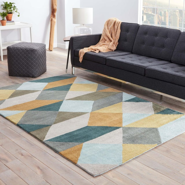 2020s Luli Sanchez by Jaipur Living Ojo Handmade Geometric Gold Teal Area Rug 5'X8' For Sale - Image 5 of 6