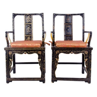 20th Century Chinese Black Lacquer Armchairs - a Pair For Sale