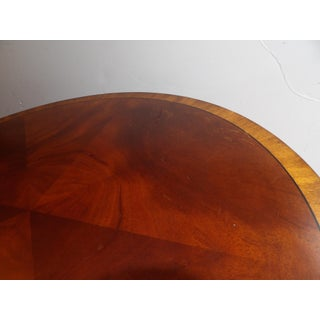 Traditional Ethan Allen Round Inlay Veneer Side Table With Drawers Preview