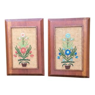 Vintage Framed Needlepoint Floral Art - A Pair