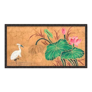 Oversized Custom Black Wood Frame Giclee of Vintage Crane & Lilly Pad Blossom Art For Sale