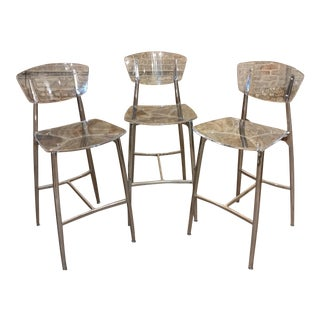 Designer Lucite & Polished Steel Bar Stools - Set of 3 For Sale