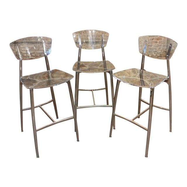 Designer Lucite & Polished Steel Bar Stools - Set of 3 For Sale