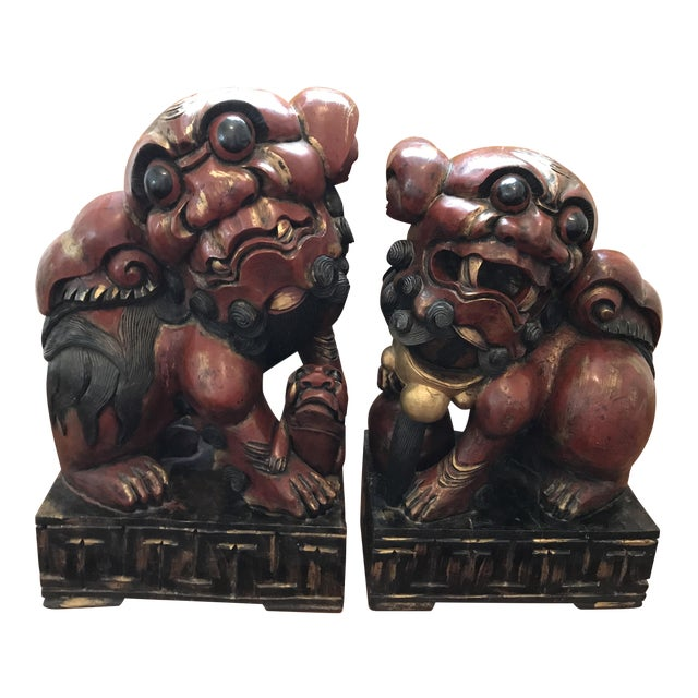 Pair of Carved and Painted Wooden Foo Dog Statues - Image 1 of 8