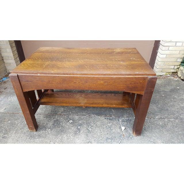 Mission Oak Arts Crafts Library Table Desk C.1900 For Sale - Image 3 of 6