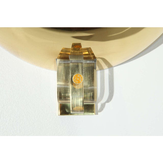 1960s 1970s Brass & Lucite Italian Sconces - a Pair For Sale - Image 5 of 9