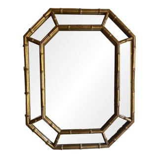 1980s Hollywood Regency Style Faux Bamboo Wall Mirror For Sale