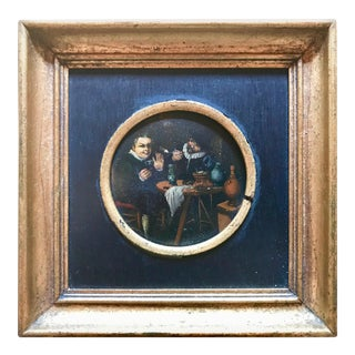 Dutch Baroque Miniature Oil Painting Tavern Scene Two Men Smoking and Drinking For Sale