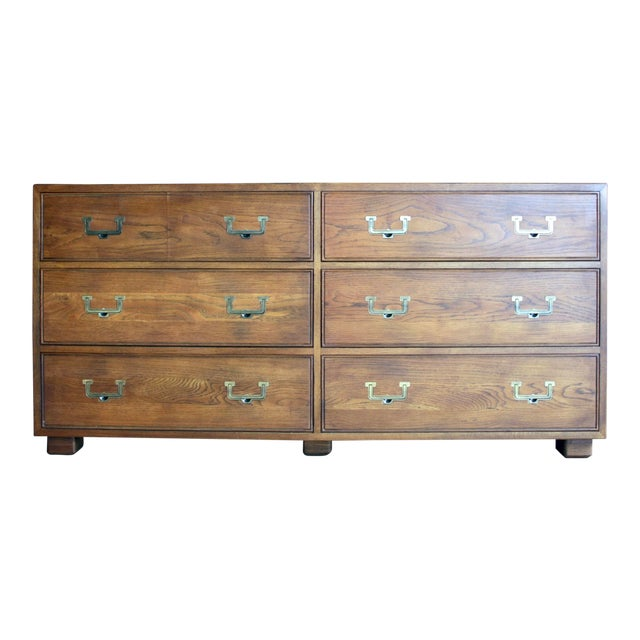 Henredon Artefacts 6-Drawer Campaign-Style Dresser / Credenza / Buffet For Sale
