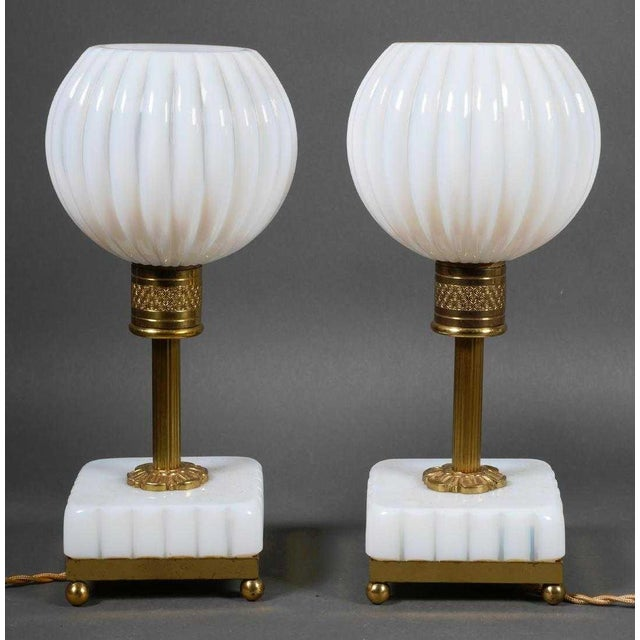 French Opaline Table Lamps - a Pair For Sale - Image 4 of 4