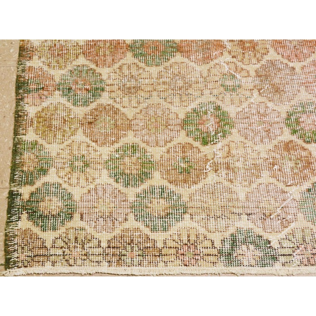 "1950s Vintage Turkish Hand Knotted Whitewash Organic Wool Fine Weave Rug,6'x9'3"" For Sale - Image 5 of 6"