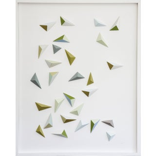 Origami Green and Blue Triangle Abstract Collage by Dawn Wolfe For Sale