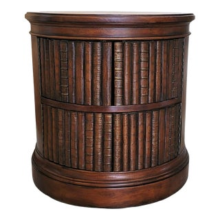 Solid Wood and Leather Faux Book Panel Side Table For Sale