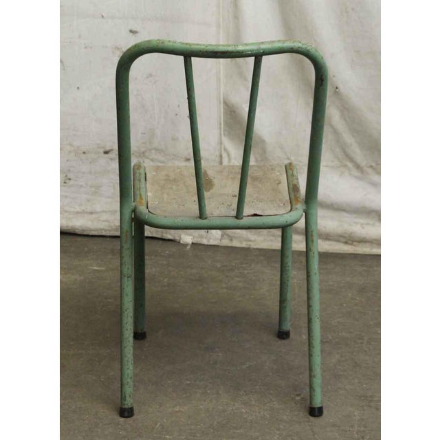 Reclaimed Imported Green & White Steel School Chairs - Set of 3 For Sale - Image 5 of 5