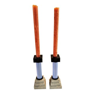 Memphis Pair of Candlesticks by Godley Schwan For Sale