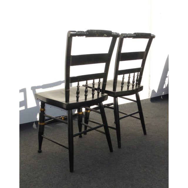 Black Vintage Spindle Back Windsor Chairs - A Pair - Image 10 of 11