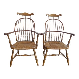 American Vintage High Back Windsor Armchairs With Rush Seats - A Pair For Sale