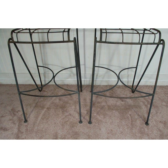 Mid Century Modern Wrought Iron Hairpin Bar Stools - A Pair - Image 6 of 11