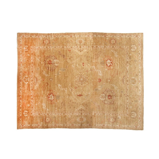 2010s Transitional Oushak Design Tan and Red Wool Rug For Sale - Image 5 of 5