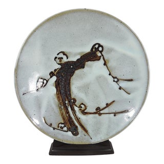 Mid 20th Century Stylised Cherry Blossoms Pale Blue Ceramic Charger by Mashiko, Japan For Sale