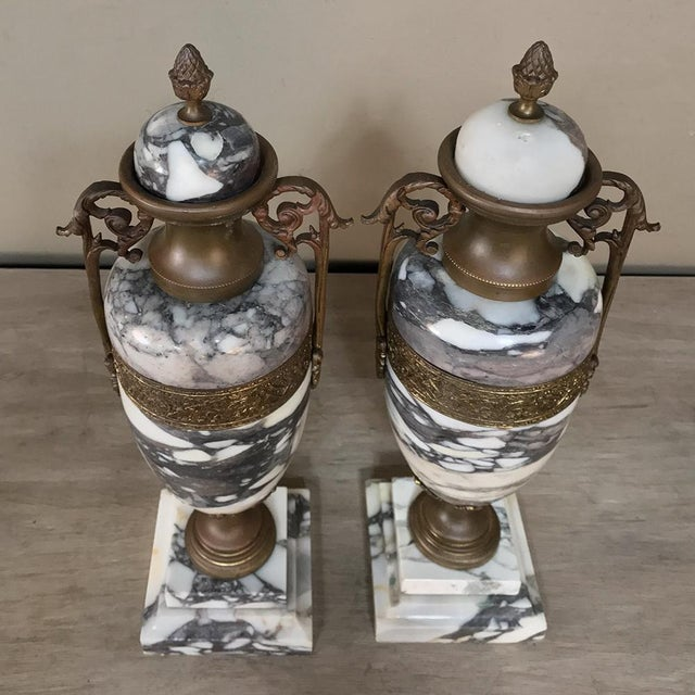 Mantel Urns/Cassolettes, 19th Century French Marble & Bronze - a Pair For Sale - Image 10 of 12