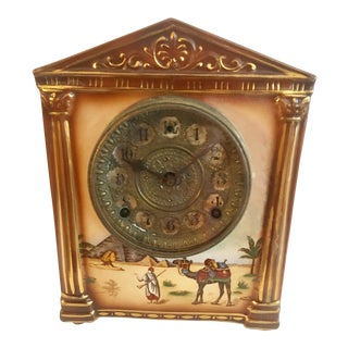 Vintage Ceramic & Brass Camel Sahara Clock For Sale