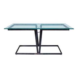 Art Deco Aluminum Console Table With Glass Top For Sale