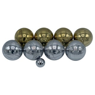 1960s Italian Brass and Chrome Bocce Ball Set, 9 Pieces For Sale