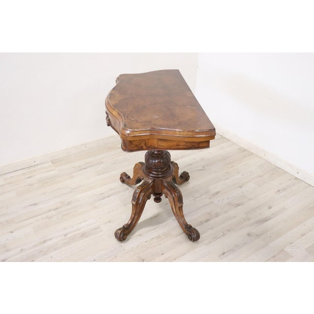 Brown 19th Century Italian Walnut Carved and Burl Game Table For Sale - Image 8 of 12