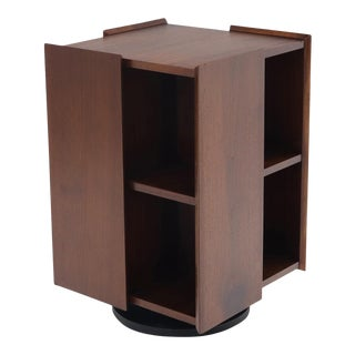 Mid-Century Modern Walnut Stand Revolving Bookcase For Sale