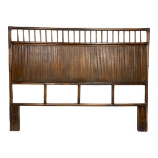 Vintage 1970s Full Size Bamboo Headboard For Sale